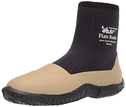 ForEverlast Flats Boots Lightweight Neoprene Rubber Boots for Fishing & Wading, Water Resistant, for Men & Women, Beige/Black, SIZE 12