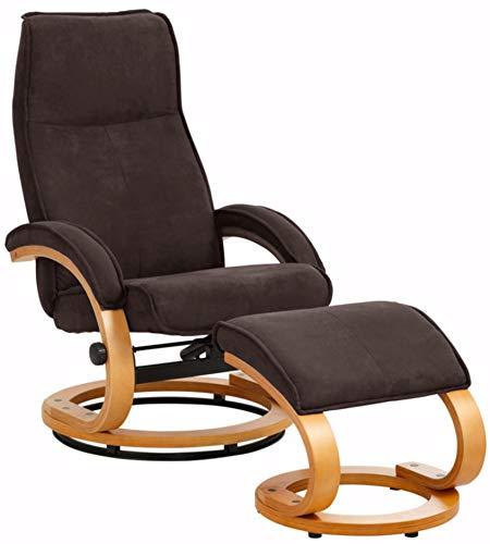 Loft24 A/S Pam Relaxsessel Fernsehsessel Lesesessel mit Fußhocker Sessel mit Hocker (Microfaser, Braun, mit Relaxfunktion)