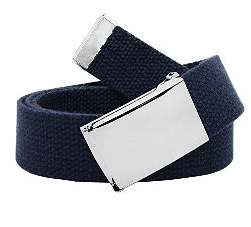 Cintura in tela classica in stile militare con fibbia a scatto colore argento, da uomo blu navy XX-Large