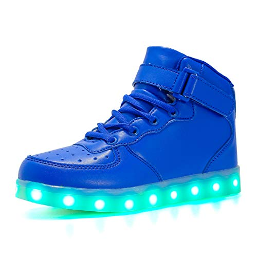 Kauson 7 Farben LED High-Top Schuhe USB Aufladen Leuchtschuhe Licht Blinkschuhe Leuchtende Sport Sneaker Light up Wasserdicht Laufschuhe Gymnastik Turnschuhe Damen Herren Unisex Kinder Shoes 25-46EU