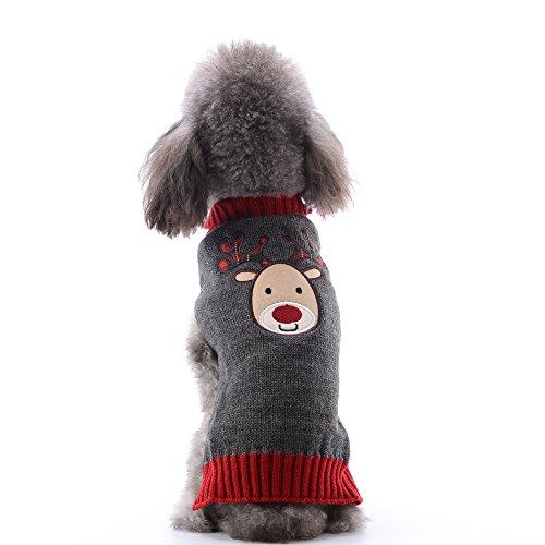 ABRRLO Hunde Kostüme Hundebekleidung Baumwolle Pullover feiern Weihnachten-Tag Winter Mantel Strickpullover Dress up Haustier Hund Pullover Haustier Kostüm Fashion Urlaub Party Puppy Geschenk für Hund