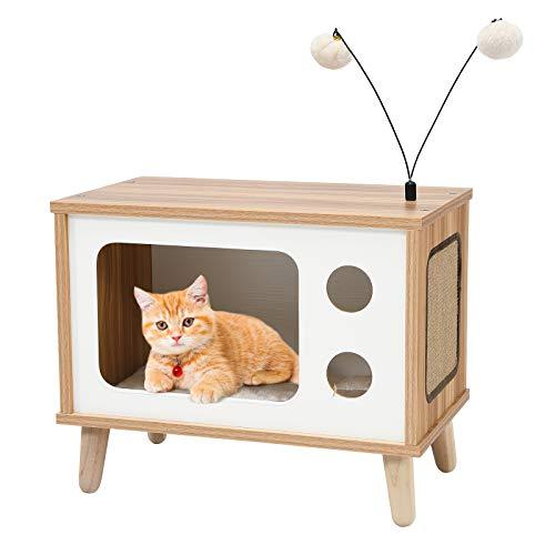 COSTWAY Casa para Gatos con Rascador Cama para Gatos con Cojín Removibles y Juguetes Caseta para Gatos de Madera para Salón Dormitorio Tienda de Mascotas