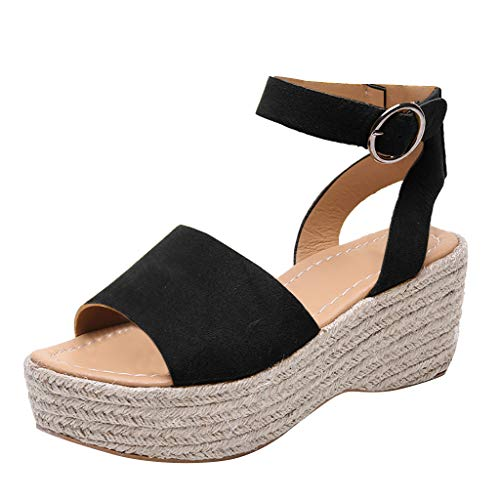 Sandalias Mujer Verano 2019 cuñas cáñamo Gran tamaño para Mujeres Sandalias con Puntera Abierta Correa de Tobillo Alpargata Color sólido Casual Zapato Romanas 35-43 riou