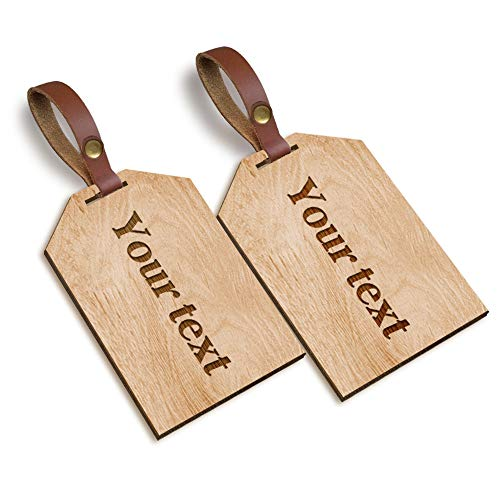 Personalised Laser Engraved Wooden Luggage Tags 2pcs Honeymoon Trip Tags - School Gym Bag Hand Finished in UK