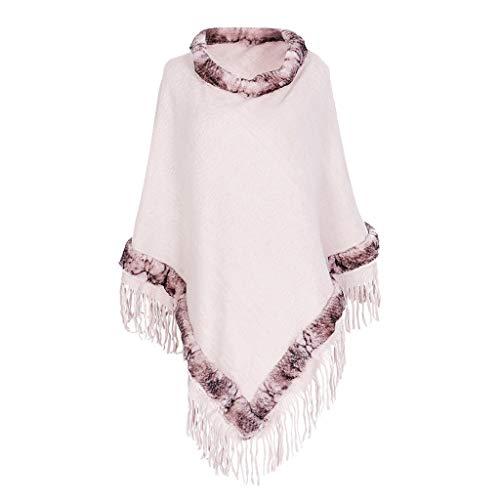 PLOT Stolen für Damen Kaschmir Umschlagtücher Hoher Kragen Frauen Winter Warm Pashminas Poncho Sweatshirt Umschlagtuch Tücher mit Quaste