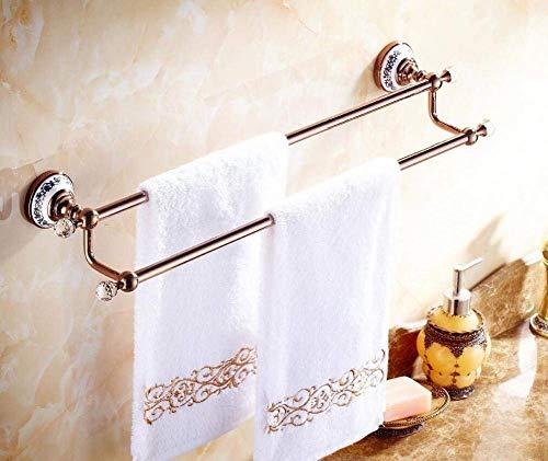 AGWa Todos los baños a doble barra de bronce Herrajes Colgantes Toallas secas Baño de estilo europeo Servilleta de barra vieja de oro rosa, oro, 62 cm