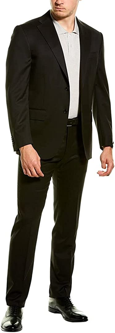 Corneliani Mens Wool Suit with Flat Front Pant, 52C, Black