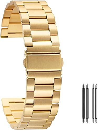 chenghuax Correa de Reloj, 20 mm 22mm Correa de Acero Inoxidable de Acero Inoxidable Reloj de Reloj de reemplazo de reemplazo con Cierre de Seguridad + 2 Barras de Primavera Pulsera