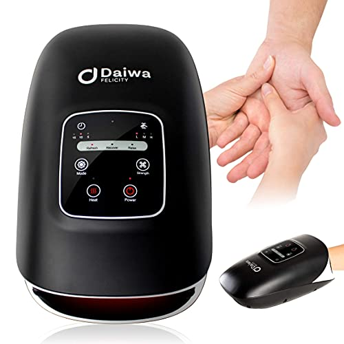 Daiwa Felicity Hand Massager Machine - rechargeable cordless carpal tunnel massager with 3 Automatic Massage Nodes - Compression therapy assists arthritis pain relief with 15 minute Auto Shutoff Timer