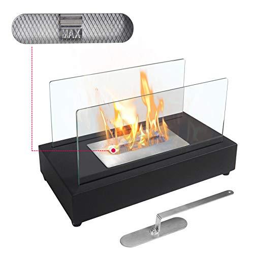 Tischkamin - Edelstahl, Bio-ethanol, für den Innen- und Außenbereich, inkl. Löschgerät, Schwarz - Feuerstelle, Glaskamin, Glasfeuer, Tischfeuer, Tisch-Dekofeuer