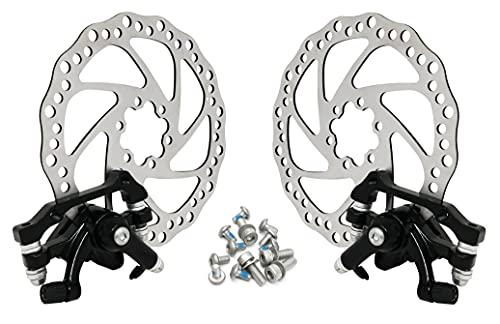 Kit freni a disco meccanici per bicicletta anteriori e posteriori 160mm set completo 2 pinze e rotori a 6 fori, coppia dischi freno per bici
