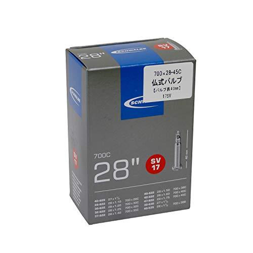 Schwalbe Unisex– Erwachsene Fahrradschlauch SV17 28/47-622/635 EK 40 mm Schlauch, schwarz, 28