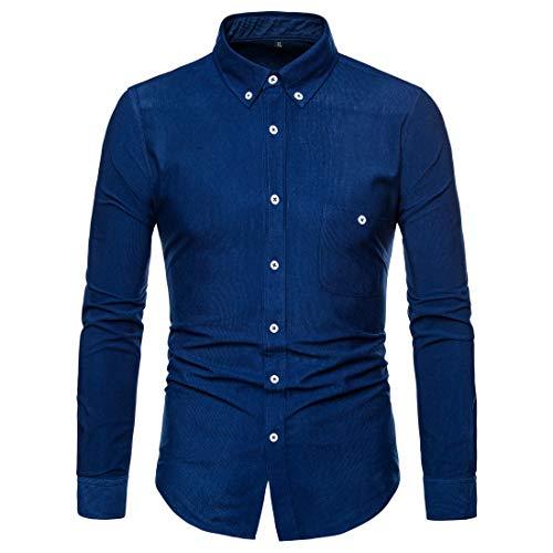 Herren Cord Hemd Langarm Shirt Business Casual Winter Herbst Frühling Shirt Mode Hemd Einfarbiges T-Shirt Herren Hemd Slim Fit Knöpfe Hemden Freizeit Atmungsaktiv Bequem Hochzeit Kentkragen 3XL