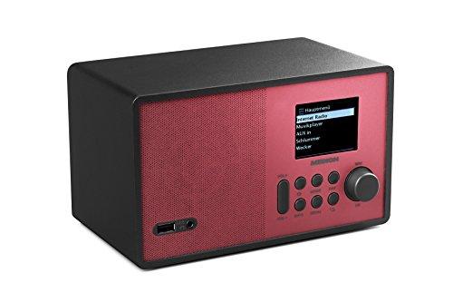 MEDION E85059 WLAN-Internetradio, 2,4 Zoll TFT Farb-Display, 40 Speicherplätze, Holzgehäuse, USB, AUX, rot/schwarz