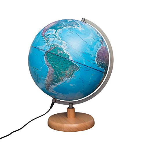 Magellan Mora Leuchtglobus 30cm Durchmesser Standfuss aus Holz Globus mit topografischem Kartenbild beleuchtet geografisches Kartenbild 30 cm