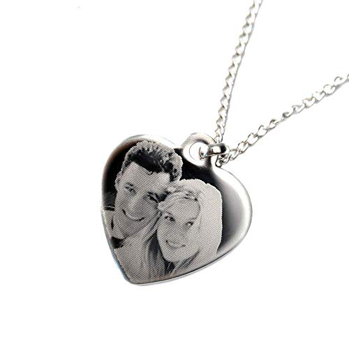 Personalised Photo/Text Engraved Heart Necklace Pendant - Great Mother's Day Gift!