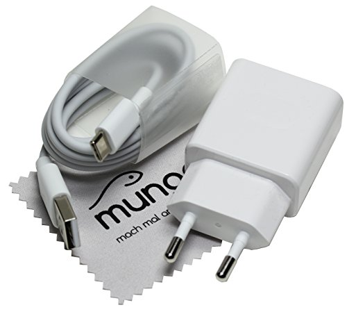 Ladegerät für Original Huawei HW-090200EH0 2A QC Schnell Ladegerät + Typ-C USB Ladekabel Huawei P9 (Plus), P10 (Plus), Mate 9, Mate 10, Honor 8, Honor 9, Nova, Nova 2 mit mungoo Bildschirmputztuch