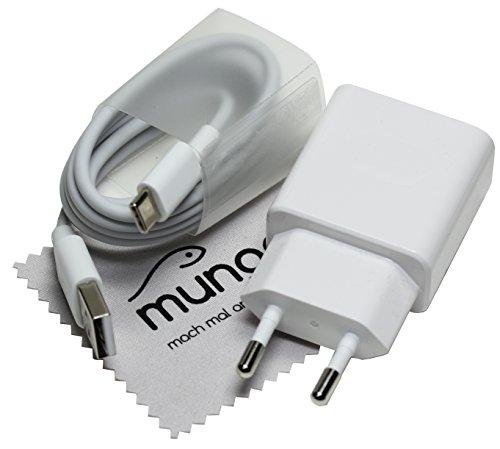 Cargador Rapido para original Huawei HW-090200EH02A QC + cable de carga tipo-C USB para Huawei P20 (Lite/Plus), P10 (Plus), P9 (Plus), Mate 20 Lite con mungoo pantalla paño de limpieza