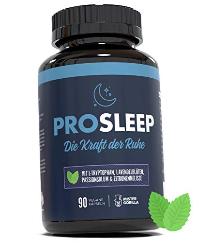 Mister Gorilla PRO SLEEP | Vor dem Einschlafen einnehmen | Mit L-Tryptophan, Lavendelblüten, Passionsblume und Zitronenmelisse | Hergestellt in Deutschland | 90 vegane Kapseln