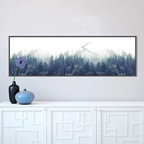N / A Decorative Foggy Forest Wall Art Poster Canvas Art Print Landscape Painting Wall Picture Living Room Frameless 60x200cm