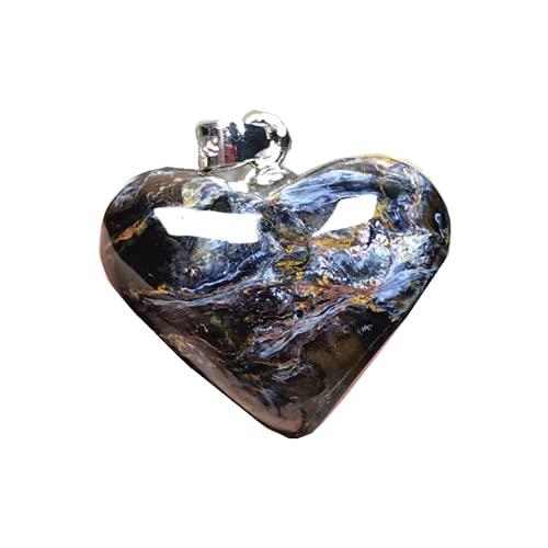 Natural Pietersite colgante azul en forma de corazón Pietersita piedra 925 joyería de plata para mujeres hombres 19x8mm cuentas de cristal plata esterlina energía suerte piedra preciosa
