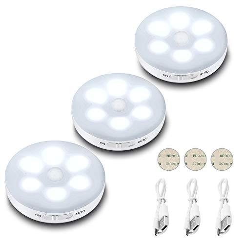 (3 Pezzi) Luce Notte LED Interna,Lampada Armadio con Sensore di Movimento,3 modalità (Auto/On/Off),Batteria Ricaricabile Luci Notturne con Striscia Magnetica Adesivo per Scale, Corridoi, Garage.