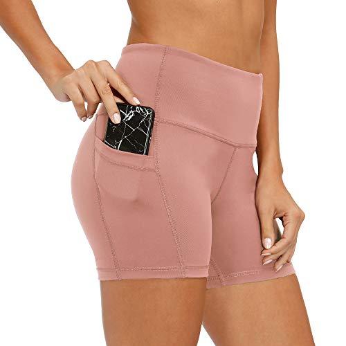 CQC Pantalones cortos de compresión para mujer, cintura alta, para yoga, correr, ciclismo, con bolsillos laterales - Rosa - Large