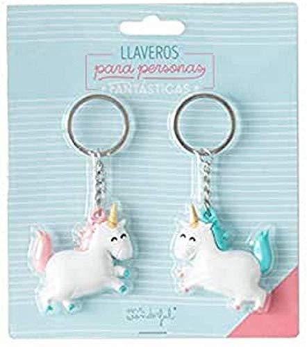 Mr. Wonderful Set de 2 llaveros Unicornio para Personas fantásticas, Multicolor, 6x7 cm