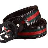 Man's Fashion classic Leisure Leather Black Buckle Belt (32'-34'(110))