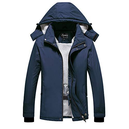 Spmor Women's Waterproof Ski Jacket Mountain Rain Winter Coat Windproof Skin Hooded Jacket Navy X-Large