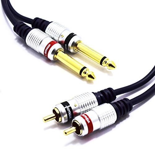 Cinch auf 6.3mm Klinke Kabel 10m Vitalco 2x Chinch Stecker zu 2x Grosse Klinke Mono Audio Adapter