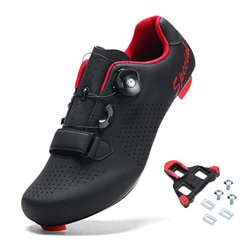 BINSHUN Cycling Shoes for Mens Spin Shoes Road Bike with Buckle Black