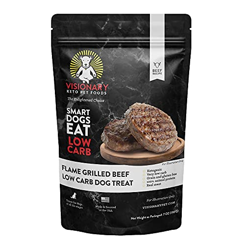 Visionary Pet Low Carb Dog Treats - Biscuit Training Treats, High-Protein, Small, Medium, Large Dogs, Grain-Free - Flame Grilled Beef (7oz Bag)