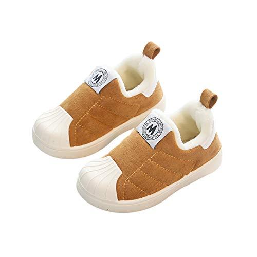 DEBAIJIA Kleinkindschuhe 1-6T Baby First-Walking Kinderschuhe Shell Head Trainer rutschfeste Baumwolle Atmungsaktiv Leichtes PVC-Material 20/22 EU Braun (Etikettengröße-22)