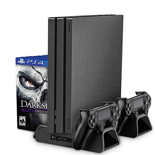 RegeMoudal Soporte Vertical para PS4/PS4 Slim/Pro Base PS4 Refrigeración con 3 Ventiladores Refrigeración,2 Puertos USB,Doble Estación de Carga Pare Controlador,12pcs Almacenamiento de Discos (Negro)