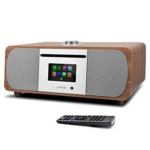 LEMEGA M5+ Stereo Internetradio Kompaktanlage (DAB+,UKW,CD-Player,WLAN,Spotify,Bluetooth,Farbdisplay,USB,AUX, Kopfhöreranschluss,Radiowecker,35 Watt,Holz-Optik,Fernbedienung) - Walnuss