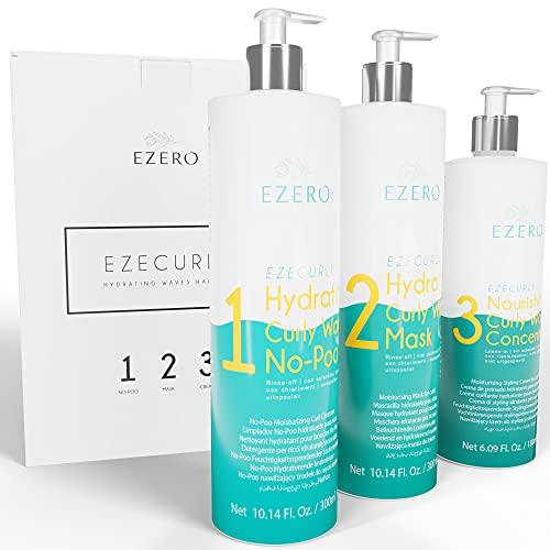 Ezero Curly Hair Produit Pour Soin Cheveux Boucles Avec Shampoing Cheveux Boucle (no-poo), Masque Cheveux Bouclés Et Creme Cheveux Boucles - Produit Cheveux Boucle - Definition Boucles Cheveux