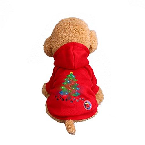 Abcsea Haustier Kostüm, Haustier Kleidung, Hund Kleidung, Haustier Glühen Kleidung, Leuchten Im Dunkeln, Hund Halloween Halloween Glühen Kostüm, Weihnachtsbaum Hund Klaue Druckt Stil - Rot - M