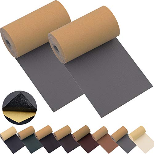Leather Repair Patch Tape for Couches 2packs 3X55inch Self-Adhesive for Furniture Sofa Vinyl Car Seats Couch Chairs Shoes Down Jackets First Aid Patch Fix Tear Kit (Grey, 3X55 inch)