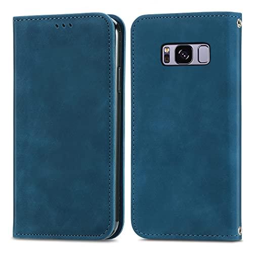 ZHANGHUI Funda protectora con tapa para Samsung Galaxy S8, cierre magnético, funda de piel con ranuras para tarjetas, cubierta de protección (color azul)
