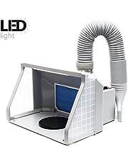 WilTec Cabine d'Aspiration 9m³/Min Éclairage LED Double Ventilation Réglable Aspiration Brouillard