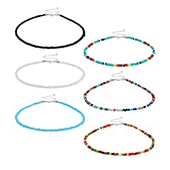 Package includes: 6 pieces women Bohemian necklace, which has 6 different colors, enough colors for your various occasions Rich colors: various colors as pictures show, 3 pieces pure necklaces and 3 pieces rainbow necklaces for your choice Material: ...