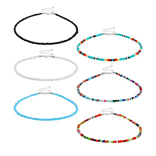 6 Pieces Women Bohemian Necklaces Seed Bead Necklaces Glass Beaded Choker Jewelry for Women and Girls(Beautiful Style)