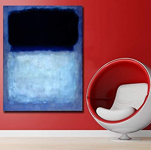 Cuadros de Pared para Sala de Estar Resumen Mark Rothko Verde sobre Azul, 1956 Arte de la Lona Decoración para el hogar Moderno sin Marco Pintura al óleo 50 * 70 cm sin Marco