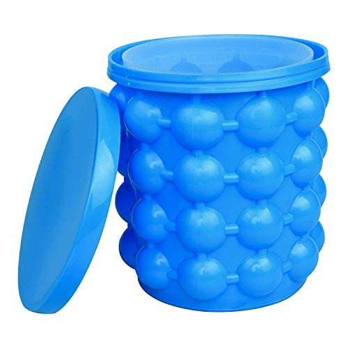 Besmon Ice Cube Mold Ice Trays, Large Silicone Ice Bucket, (2 in 1) Ice Cube Maker, Round,Portable,For Frozen Whiskey, Cocktail, Beverages (Blue)