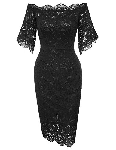 Women's Off Shoulder Lace Pencil Dress for Wedding Guest L Black