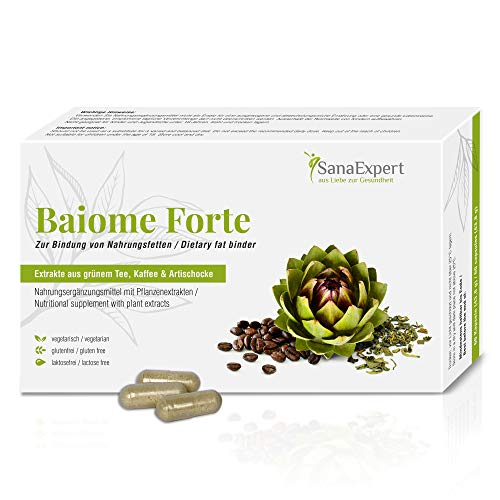 SanaExpert Baiome Forte, Natural Fat Binder, Green Coffee, Green Tea, Prickly Pear and Artichoke Extracts, 60 capsules