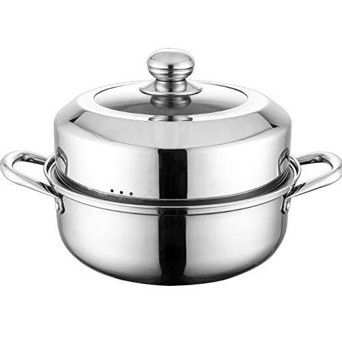Utensilios de cocina al vapor Bottom/vaporizador, Hogar 304 Pote de sopa de acero inoxidable con hoja de vapor (28 cm), utilizada para cocina de gas/cocina de inducción Charola para hornear