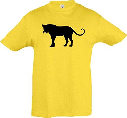 Kinder-Shirt; Tiermotiv Raubkatze, Puma, Leopard,Tiger, Jaguar, Panther, Löwe; Farbe Gelb, Größe 128