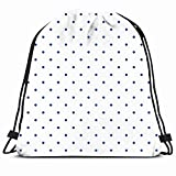 DHNKW Drawstring Backpack String Bag 14x16 Night Dots Texture Pattern Navy Blue Tiling Winter Fashion Small Polka Spots White Baby Sweet Dark Homemade Sport Gym Sackpack Hiking Yoga Travel Beach